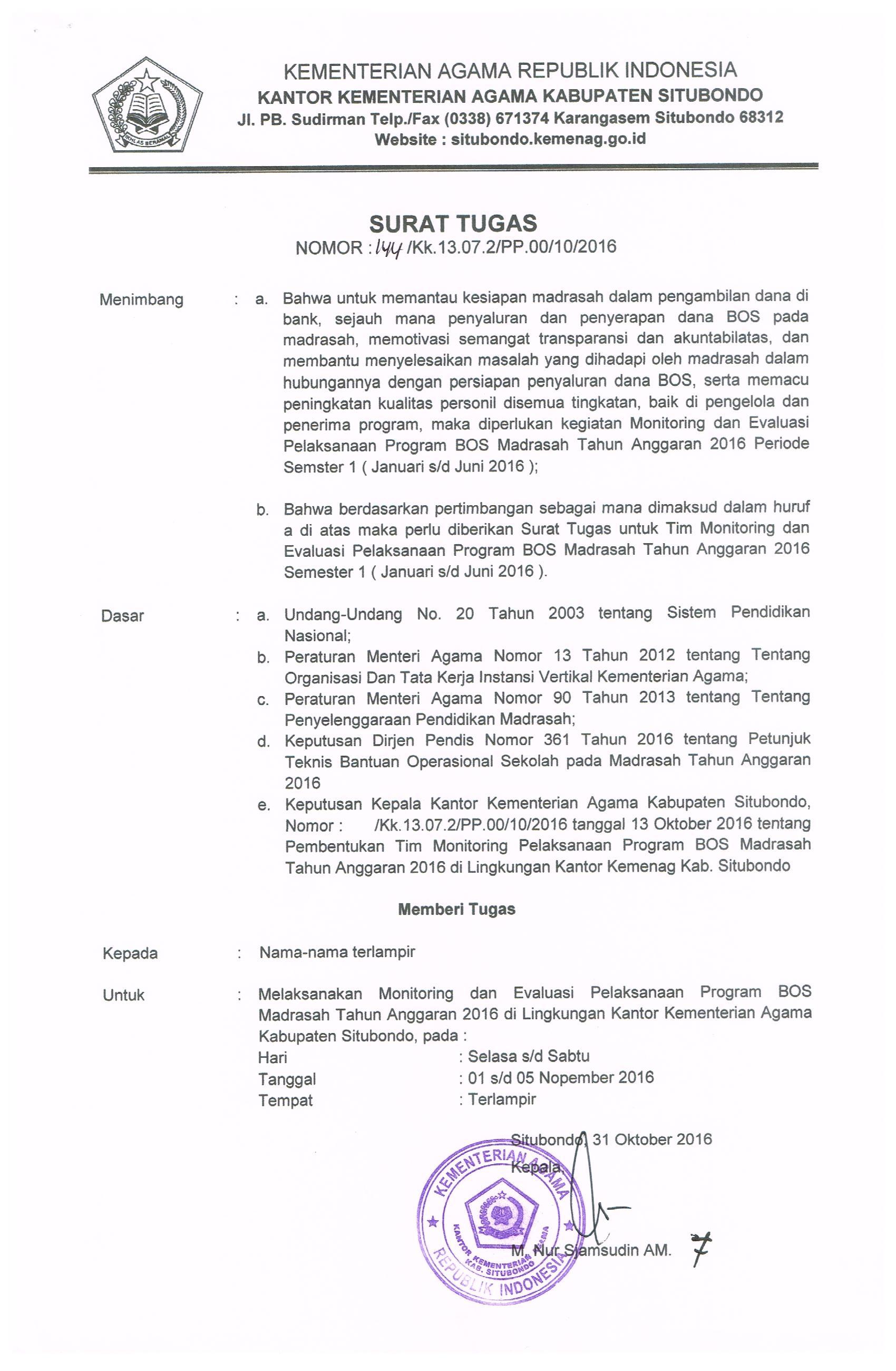 Pelaksanaan Monitoring Bos Tahun Anggaran 2016 Januari