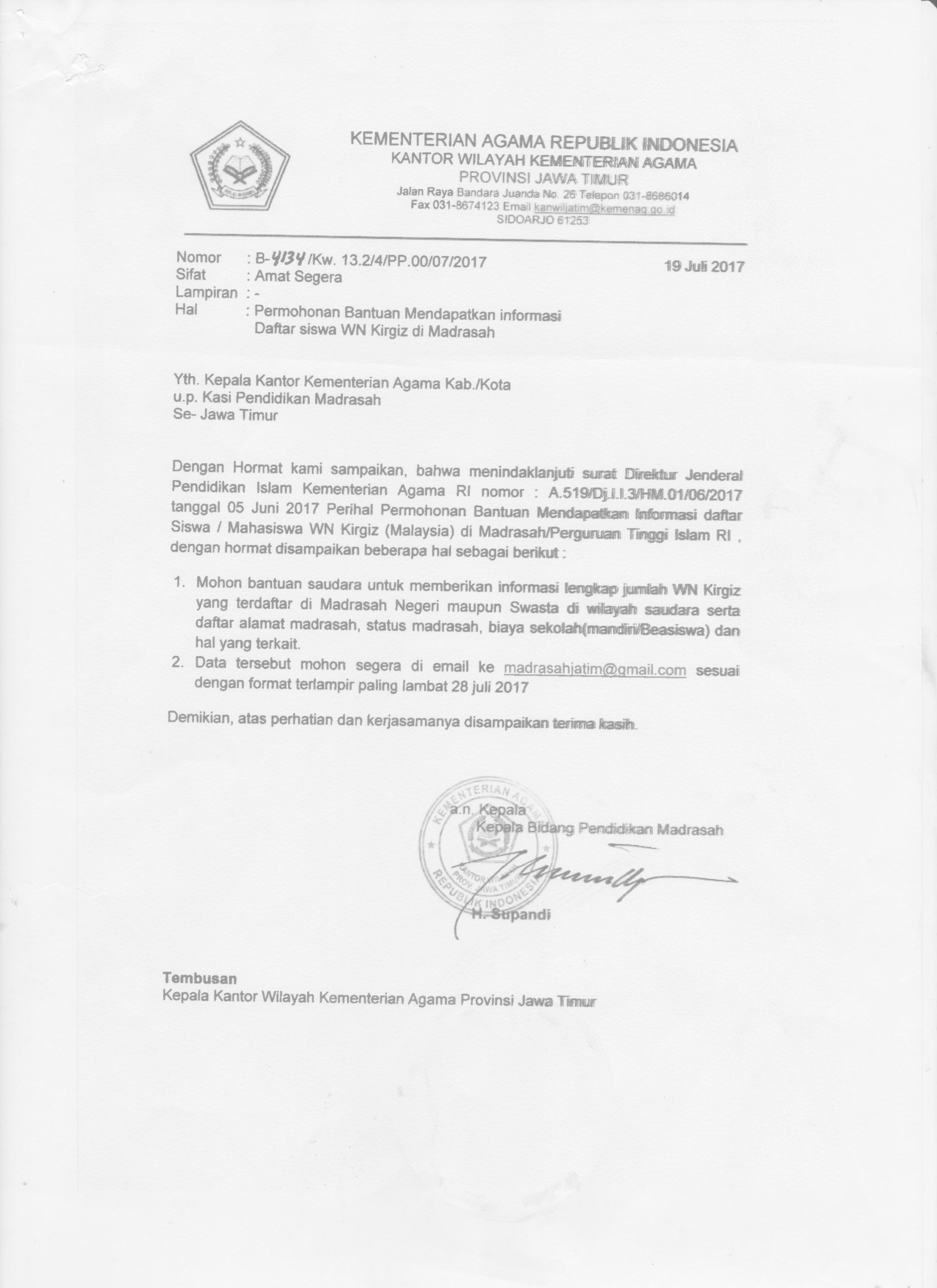 Permohonan Bantuan Informasi Kantor Kementerian Agama Kabupaten Situbondo Seksi Pendidikan Madrasah Penma